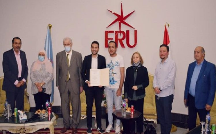 In cooperation between the Egyptian Russian University and the Alumni Association, planting the Egyptian-Russian Friendship Tree.